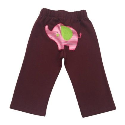 Baby Girl's Friendly Jumbo Maroon Fleece Pants - Crayon Flakes