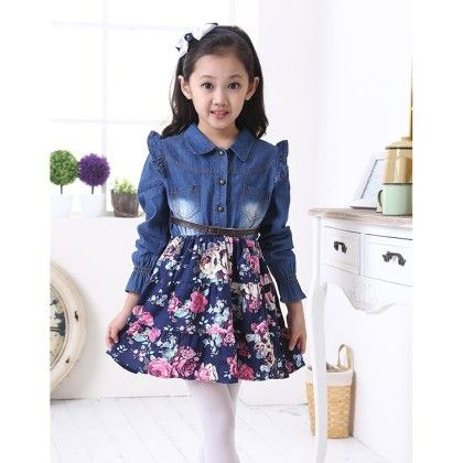 Smart Floral Blue Denim Dress With Leather Belt - Cherry Blossoms