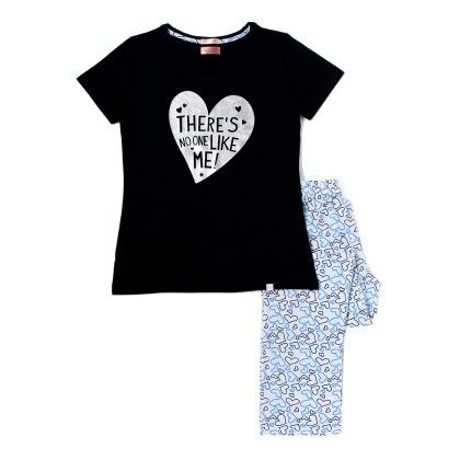 Navy Blue Top With Heart Printed Full Pyjama Set - Sheer Love