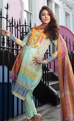 Yellow With Green Beautiful Printed Unstitched Suit - Mauve Collection