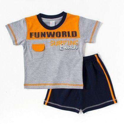 Fun World Print Orange Half Hosiery Suit - 2 Pc Set - Itty Bitty