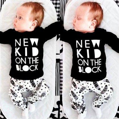 Black New Kid On The Block Baby Boys Playwear Set - Petite Kids