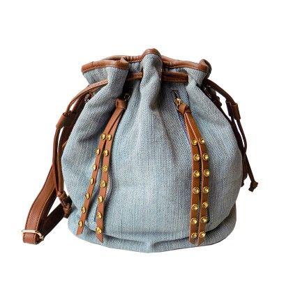 Denim Studded Tote Bag - Olivia Miller