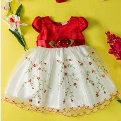Red And White Embrodery Dress - Little Coogie