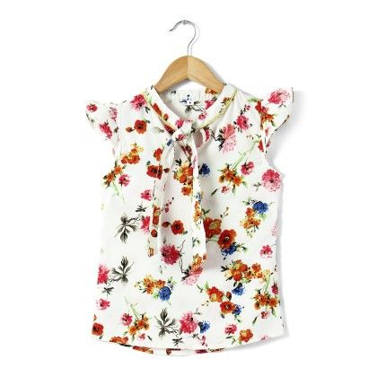 White Floral Print Flutter Sleeves Top - Buttercups