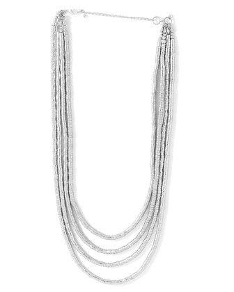 Voylla Silver Tone Classy Necklace In Layered Design