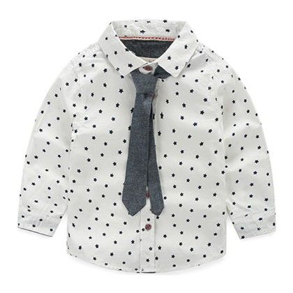 White Shirt With Cute Tie - Mauve Collection