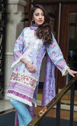 Light Purple Beautiful Printed Unstitched Suit - Mauve Collection