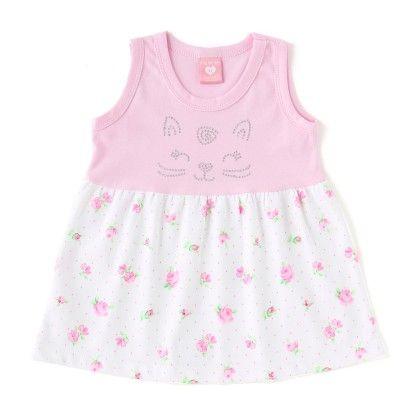 Ligth Pink Sleeveless Floral Print Dress - Naturelle