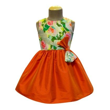 Orange Apricot Rose Brocade Bow Dress - A.T.U.N