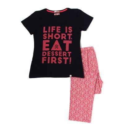 Navy Blue Top With Pink Printed Full Pyjama Set - Sheer Love
