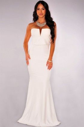 Off White Plunging Strapless Maxi Dress - Enigma