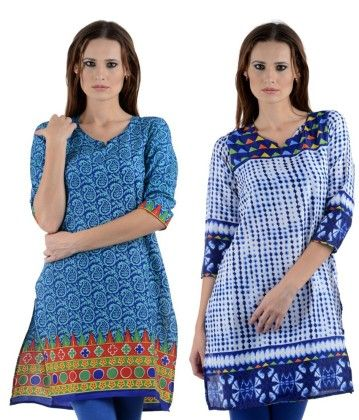Combo Of Two Kurti Sky Blue & White Blue - Brand Stand