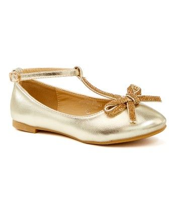 Gold T- Strap With Bow & Rhinestone Flat Shoes - Adorababy