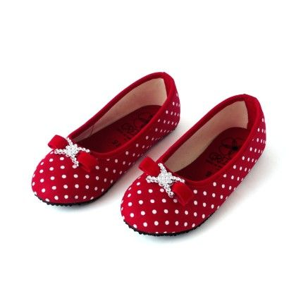 Red Polka Print Ballerina - Green