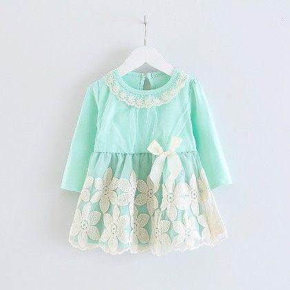 Long Sleeve Green Flowery Lace Dress - Peach Giirl