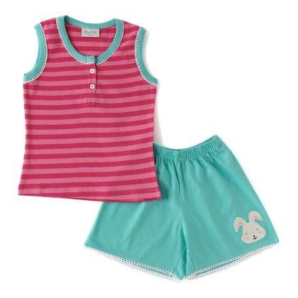 Pink Stripe Print Top And Shorts Cotton Set - De-Nap