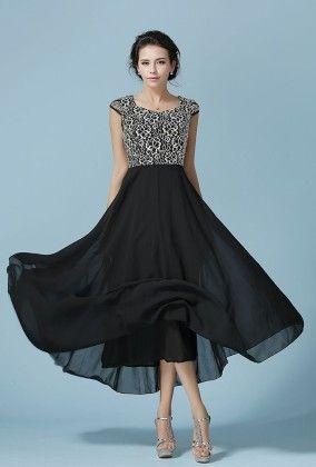 Black Spring  Maxi Dress - Mauve Collection