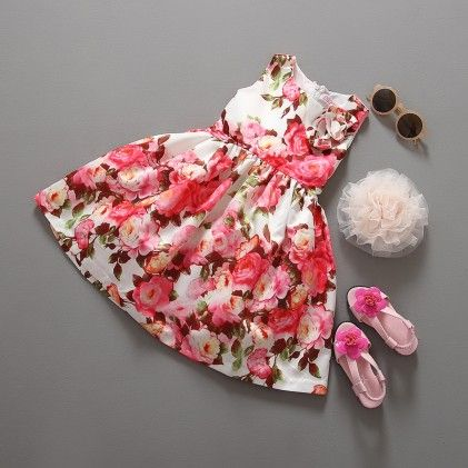 Red Summer Flower Print Princess Dress - Tulip