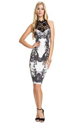 Short Straight Black & White Lace Party Dress - Mauve Collection
