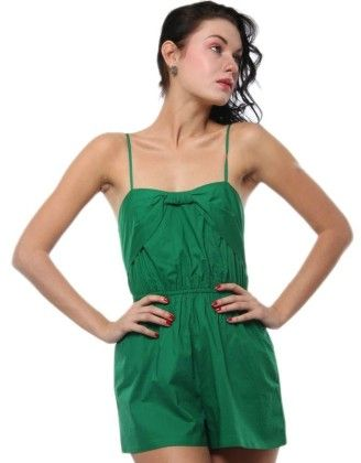 Front Bow Detail Playsuit Green - XNY