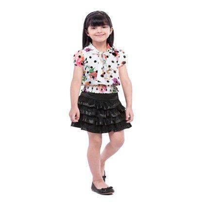 Black Polka Dot Skirt And Top Set - Tiny Baby