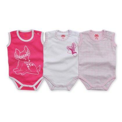 3pack Sleeveless Bodysuit - Gazelle - Fuchsia - Baby Corner