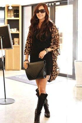 Classy Leopard Print Cape Brown Top - Mauve Collection