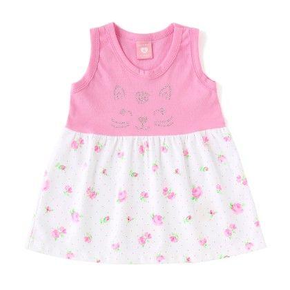 Dark Pink Sleeveless Floral Print Dress - Naturelle