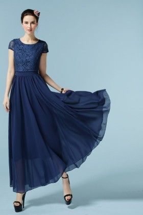 Blue Chiffon Patch Work Spring Dress - Mauve Collection