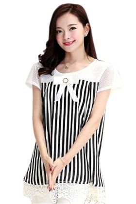 Classy Striped Women's Top - Mauve Collection