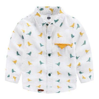 Bute Bird Print Shirt Yellow - Mauve Collection