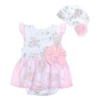 Cute White Frock Style Romper With Hat - 2 Pcs Set - Little Spring