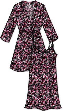 Lace Me Up Robe And Chemise Set - Pink And Black - Rene Rofe - 253077