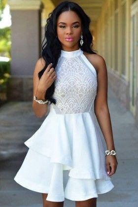 White Lace & Mesh Skater Short Dress - Enigma