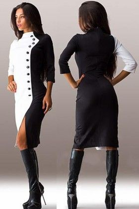 Black & White Front Button Sleeve Dress - Enigma
