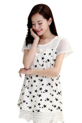 Star Print Womens Top - Mauve Collection