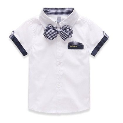 Classic Bow Shirt For Spring Summer - White - Mauve Collection
