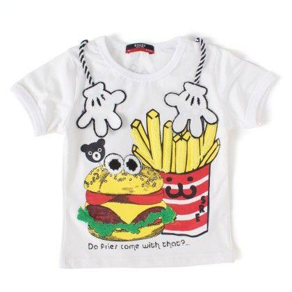 Fries White Round Neck T-shirt - NODDY