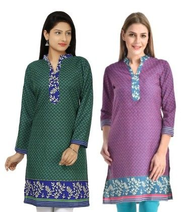 Combo Of Two Kurti Green & Pink - Brand Stand