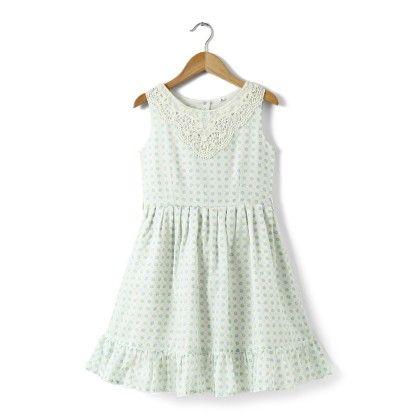 White Printed Cotton Dress With Cotton Lace Bib - Buttercups