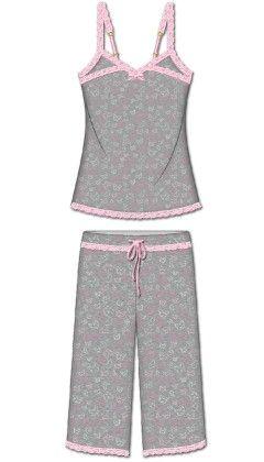 Love That Lace Capri Pj Set - Gray - Rene Rofe