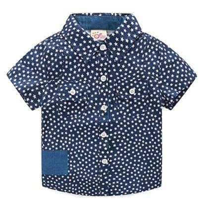 Cute Star Print Collar Shirt - Mauve Collection