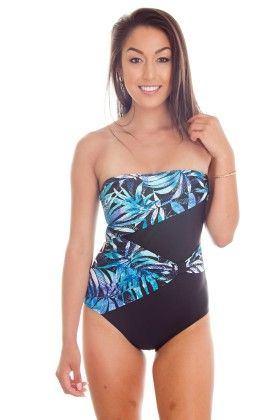 Blue Leaves One Piece Overlay Bathing Suit - Dippin Daisy