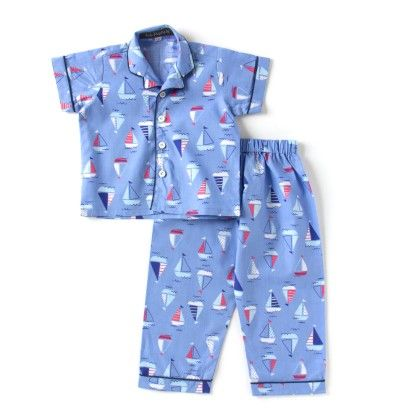 Boat Printed Night Suit- Blue - LiL Poppets