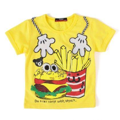 Fries Yellow Round Neck T-shirt - NODDY