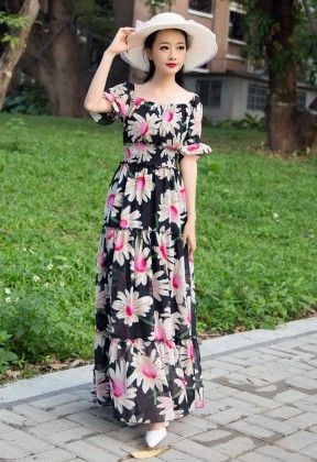 Printed Maxi Dress - Mauve Collection