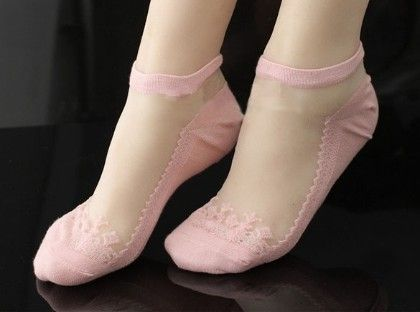 Oomph Lace Socks Cotton Lace-pink