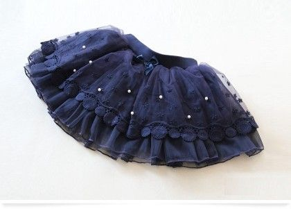 Blue Lace And Pearl Skirt - Mauve Collection