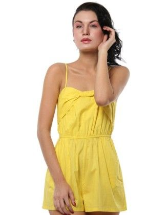 Front Bow Detail Playsuit Yellow - XNY